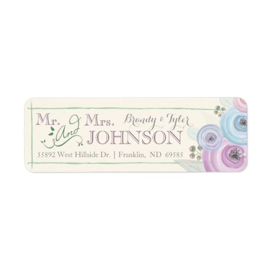 Watercolor Floral Wedding Return Address Label