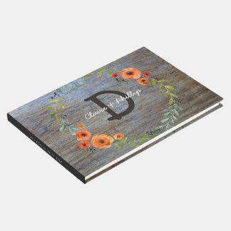 Watercolor Floral Wedding | Rustic Wood Monogram Guest Book