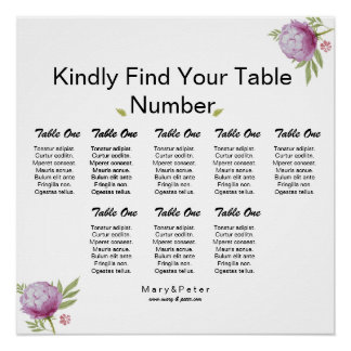 Watercolor Floral Wedding Seating Chart Poster Perfect Poster
