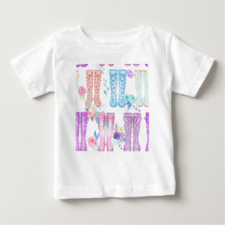 Watercolor floral wellington boots, rubber boots baby T-Shirt
