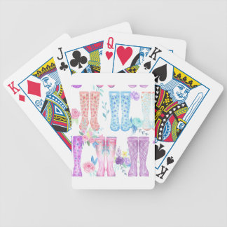 Watercolor floral wellington boots, rubber boots bicycle playing cards