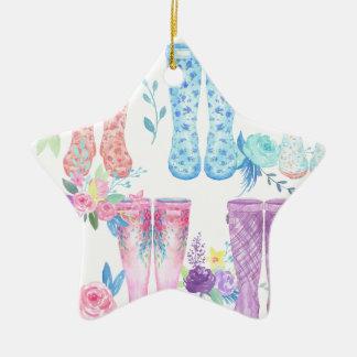 Watercolor floral wellington boots, rubber boots ceramic ornament