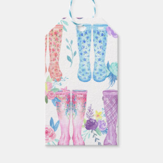 Watercolor floral wellington boots, rubber boots gift tags