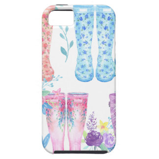 Watercolor floral wellington boots, rubber boots iPhone 5 case