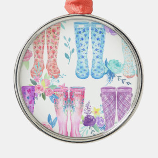 Watercolor floral wellington boots, rubber boots metal ornament