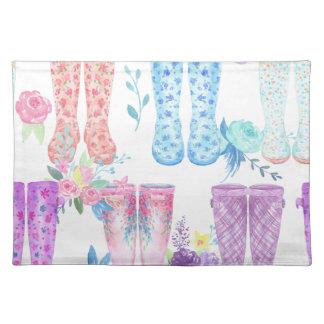 Watercolor floral wellington boots, rubber boots placemat