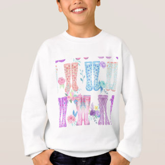 Watercolor floral wellington boots, rubber boots sweatshirt