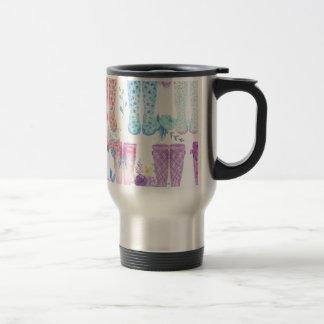 Watercolor floral wellington boots, rubber boots travel mug