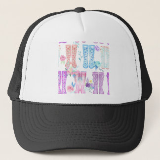 Watercolor floral wellington boots, rubber boots trucker hat