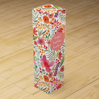 Watercolor Floral Wine Gift Box