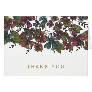 Watercolor Floral Wine Rose Gold Generic Thank You Card