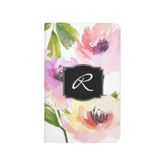 Watercolor Floral with Monogram Journal