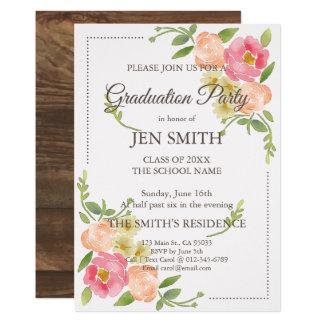 Watercolor Floral Woodsy Graduation Invitation