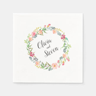 Watercolor Floral Wreath Boho Wedding Paper Napkin