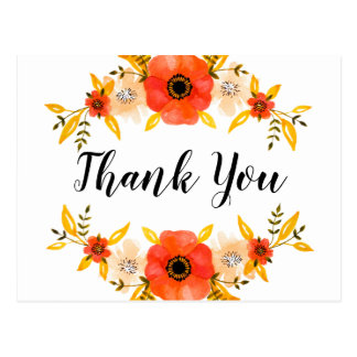 """Watercolor Floral Wreath Custom """"Thank You"""" Text Postcard"""