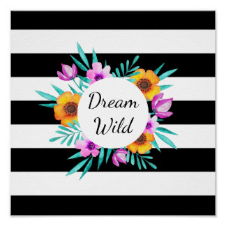 """Watercolor Floral Wreath """"Dream Wild"""" Quote Poster"""