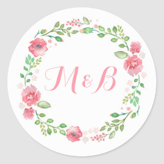 Watercolor Floral Wreath Elegant Wedding Round Sticker