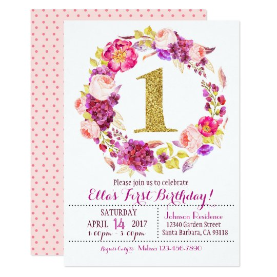 Watercolor Floral Wreath First Birthday Card