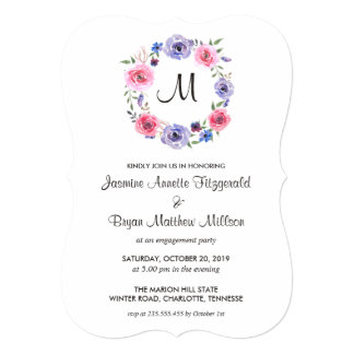 Watercolor Floral Wreath Monogram Engagement Party Card