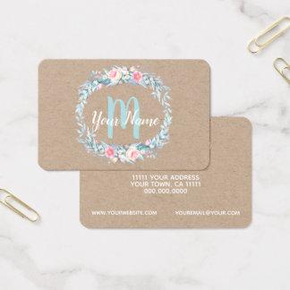 Watercolor Floral Wreath Monogram Initial Business Card