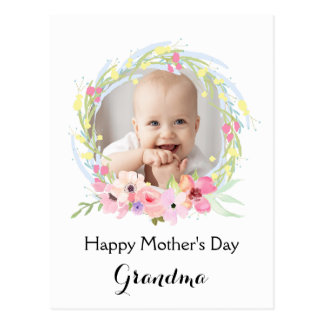 Watercolor Floral Wreath Mother's Day Photo Postcard