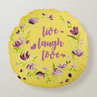 Watercolor Floral Wreath Round Pillow