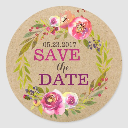 Watercolor Floral Wreath Save the Date Classic Round Sticker