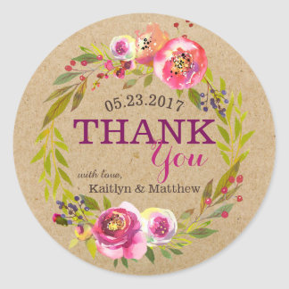 Watercolor Floral Wreath Thank You Classic Round Sticker