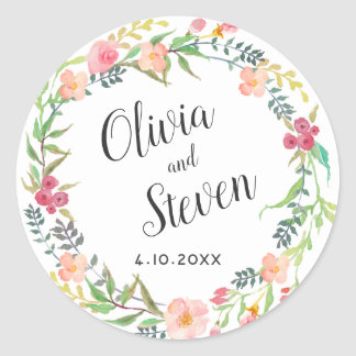 Watercolor Floral Wreath Wedding Classic Round Sticker