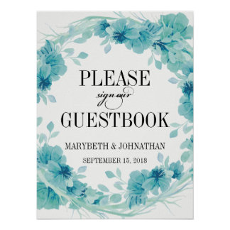 Watercolor Floral Wreath Wedding Guest Book Poster
