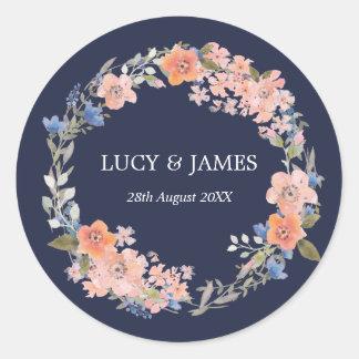 Watercolor Floral Wreath Wedding Stickers