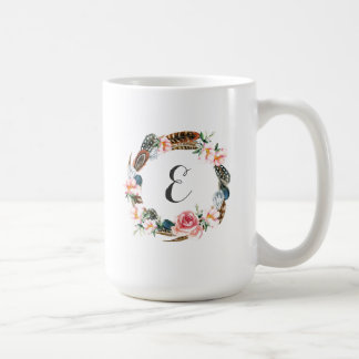Watercolor Floral Wreath with Feathers | Monogram Coffee Mug