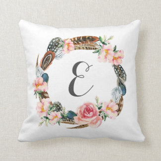 Watercolor Floral Wreath with Feathers | Monogram Throw Pillow