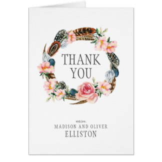 Watercolor Floral Wreath with Feathers | Thank You Card