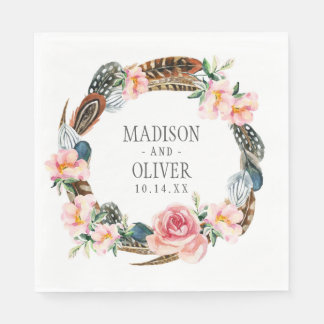 Watercolor Floral Wreath with Feathers | Wedding Disposable Napkins