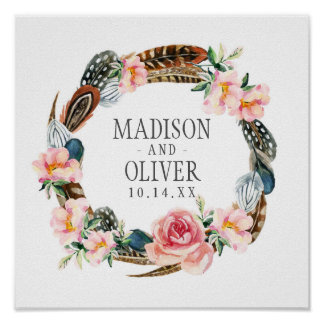 Watercolor Floral Wreath with Feathers | Wedding Poster