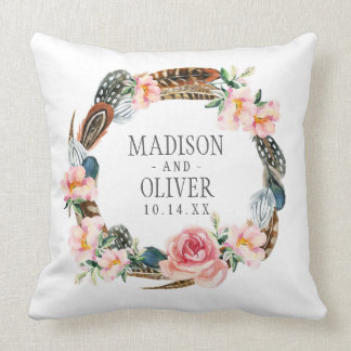 Watercolor Floral Wreath with Feathers | Wedding Throw Pillow