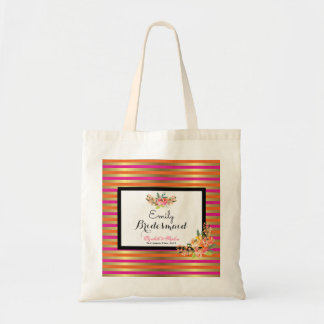 Watercolor Florals on Pink Orange and Gold Stripes Tote Bag
