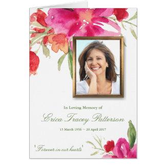 Watercolor Florals & Photo Sympathy Greeting Card