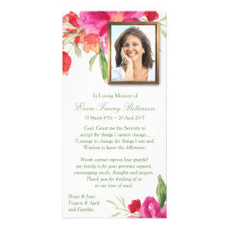 Watercolor Florals & Photo Sympathy Thank You Card