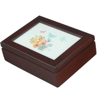 Watercolor Flower Art Floral Blue jewelry Box