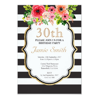 Watercolor Flower Black and White Stripe Birthday Card