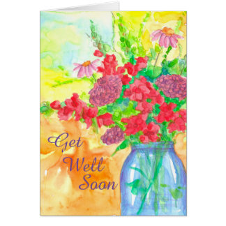 Watercolor Flower Bouquet Get Well Soon Card
