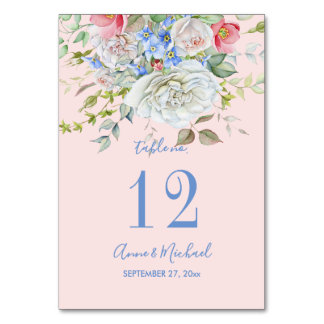Watercolor Flower Bouquet Ivory Blue Any Colour Card