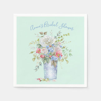 Watercolor Flower Bouquet Ivory Pink Any Color Paper Napkin