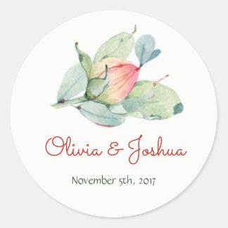 Watercolor Flower Bud Wedding Stickers