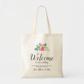 Watercolor Flower | Calligraphy Wedding Welcome Tote Bag