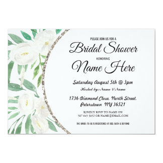 Watercolor Flower Glitter Bridal Shower Invite