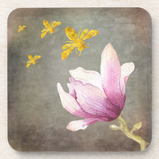 Watercolor Flower & Gold Bees Coaster