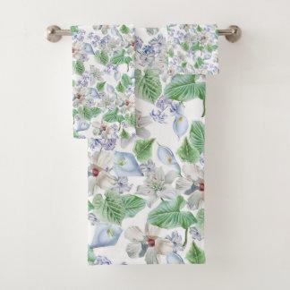 Watercolor Flower Pattern Bathroom Towel Set